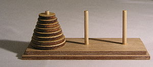 Tower of Hanoi (Ref: http://en.wikipedia.org/wiki/Tower_of_Hanoi)